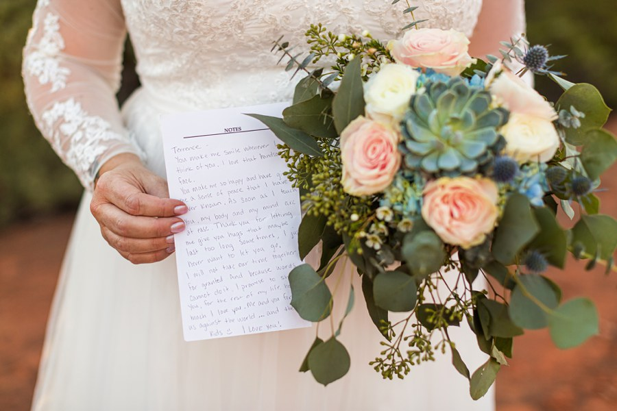 vows flowers Sedona Arizona Elopement Photographers - Claire and Terrence
