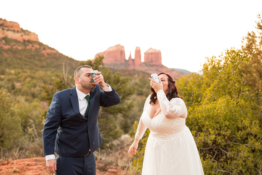 Sedona Arizona Elopement Photographers Drink Celebrate Happy - Claire and Terrence