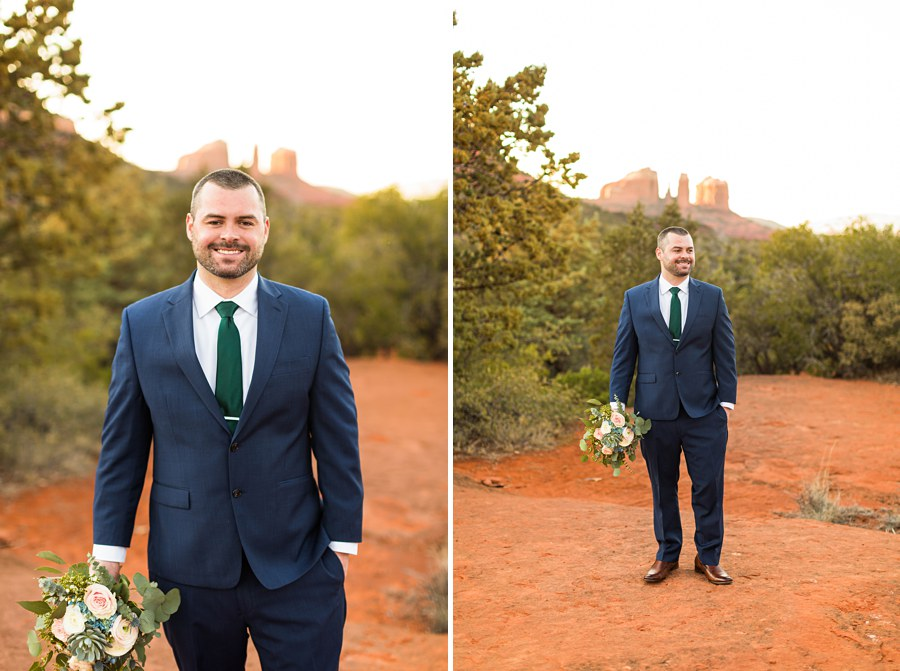 Man Bouquet Blue Suit Claire and Terrence - Northern AZ Elopement Photography