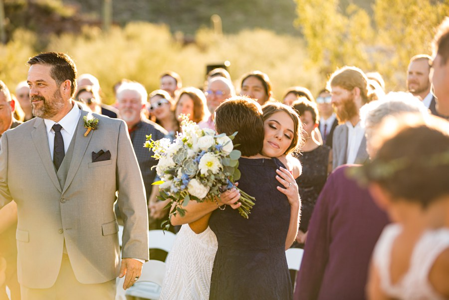Jessie and Aaron: Arizona Desert Elopement Photography mom hug