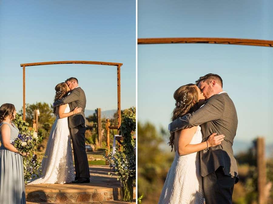 Jessie and Aaron: Arizona Desert Elopement Photography first kiss