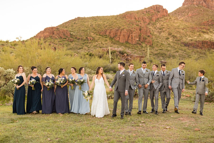 Jessie and Aaron: Arizona Desert Elopement Photography bridal party walking