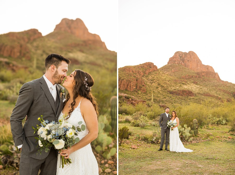 Jessie and Aaron: Arizona Desert Elopement Photography bride groom
