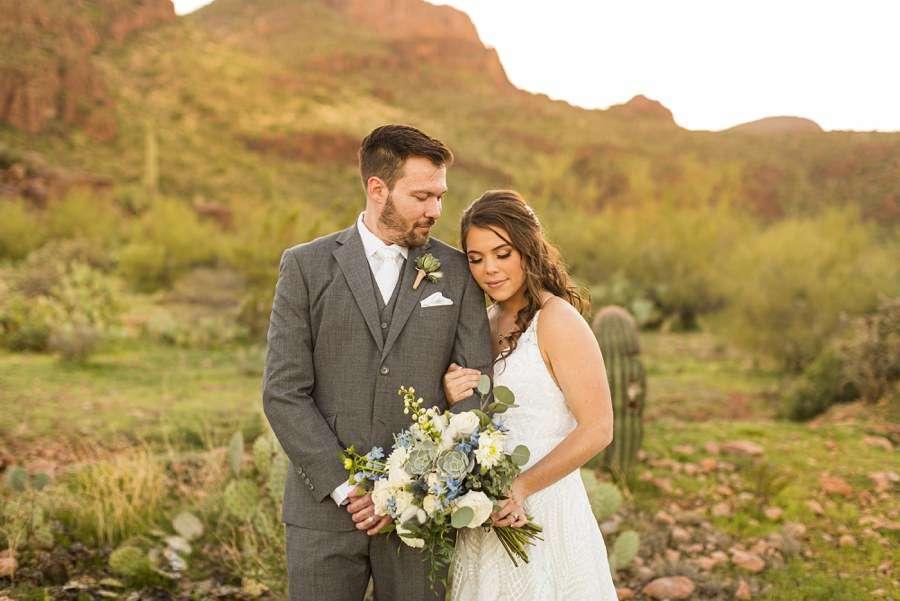 Jessie and Aaron: Arizona Desert Elopement Photography bride and groom