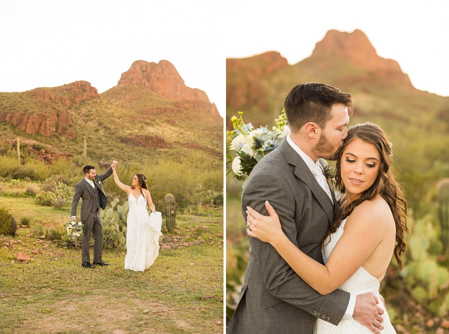 Jessie and Aaron: Arizona Desert Elopement Photography kissing