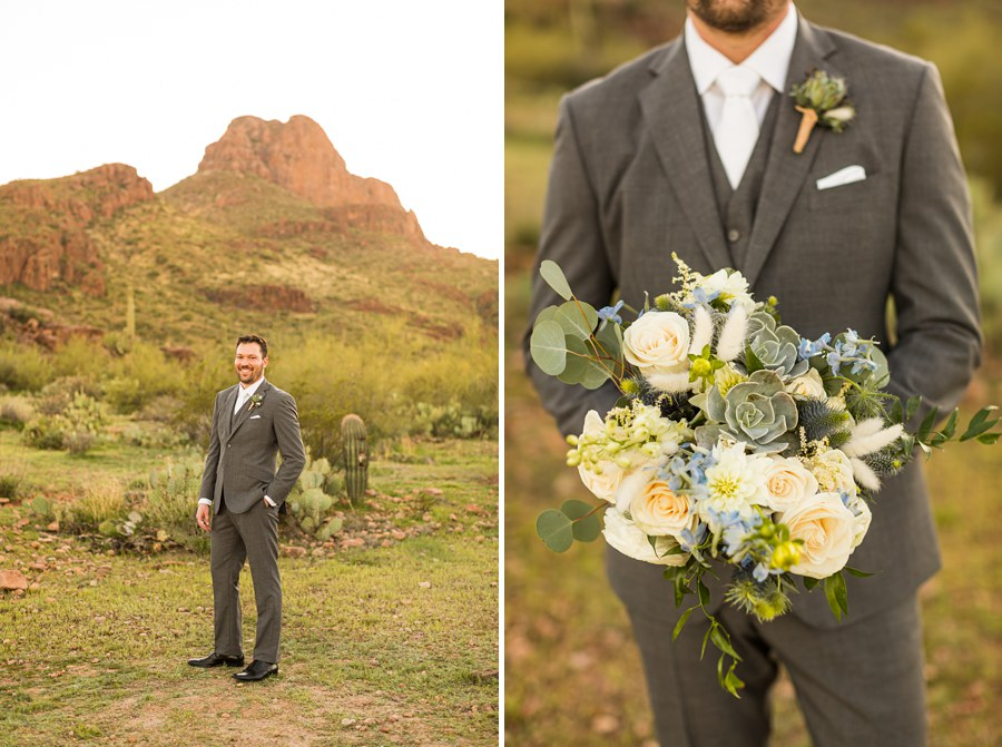 Jessie and Aaron: Arizona Desert Elopement Photography formal groom