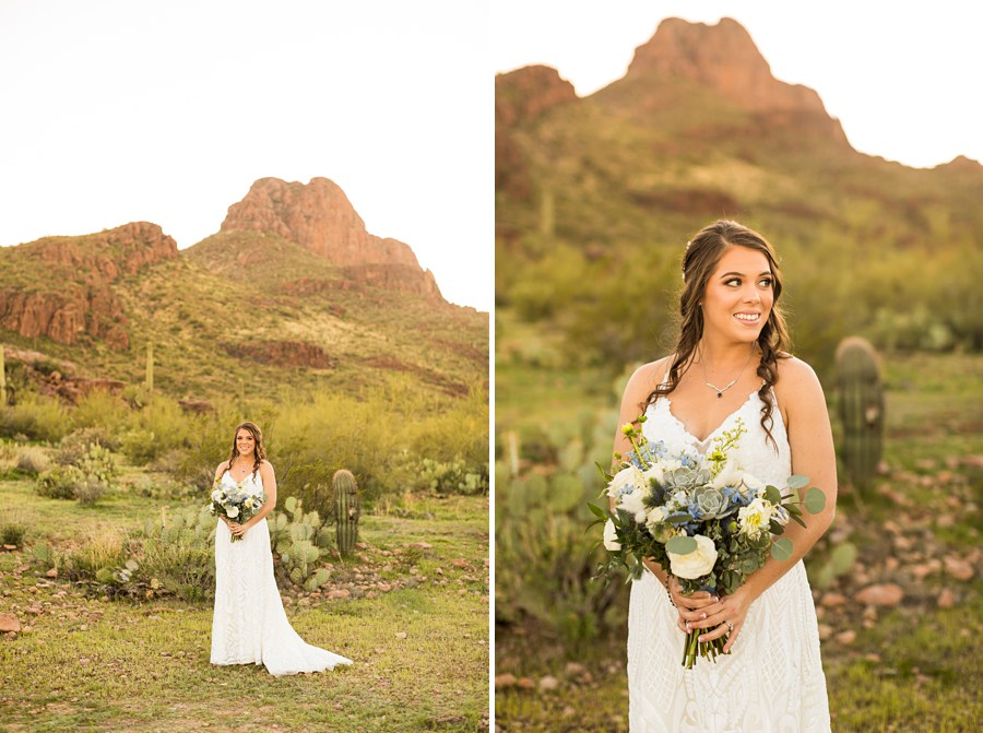 Jessie and Aaron: Arizona Desert Elopement Photography formal bride