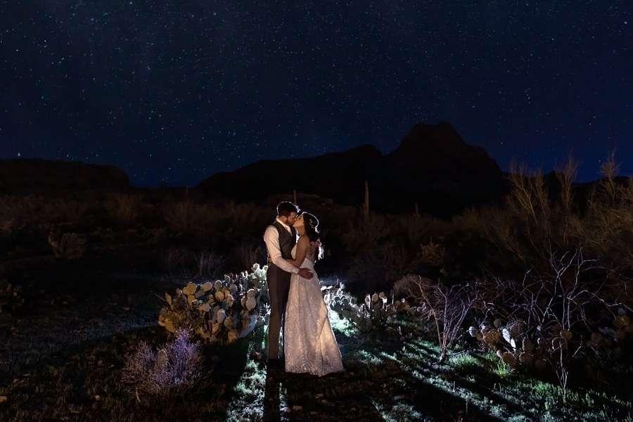 Jessie and Aaron: Arizona Desert Elopement Photography Night Stars Wedding Photograph