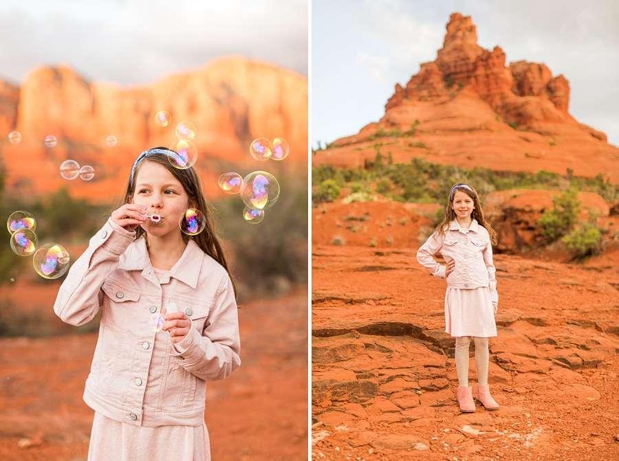 Hartman Family: Sedona Arizona Family Photography blowing bubbles