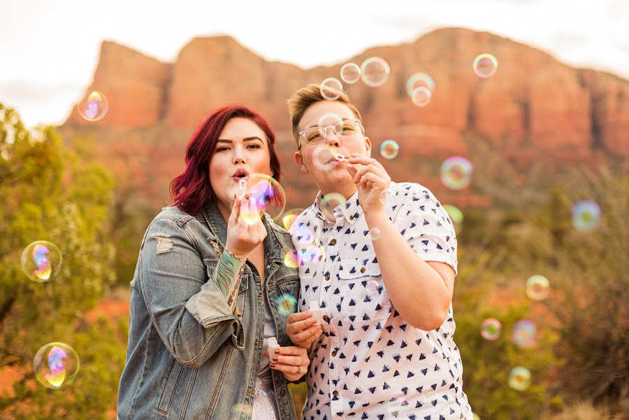 Shelby and Ana: Sedona Arizona Engagement Photography Sessions bubbles Best Testimonials for Sedona Photographer
