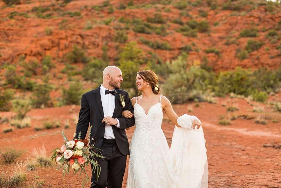 Holly and Erick - AZ Wedding Photographer Sedona - Walking
