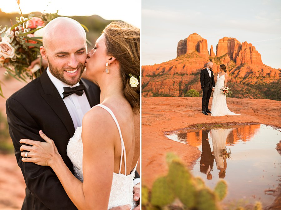 Holly and Erick - AZ Wedding Photographer Sedona - Kisses on Cheeck