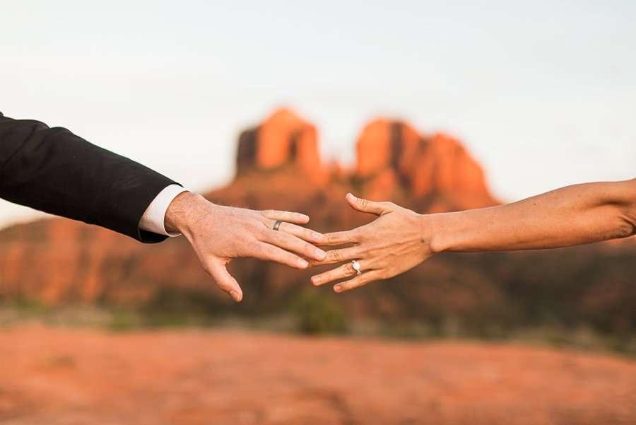 Holly and Erick - Sedona Arizona Elopement Photography - Hands Reaching