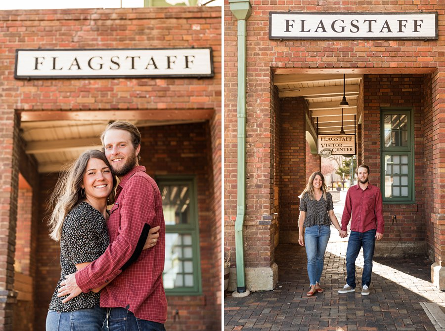 Natalia and Sean: Downtown Flagstaff AZ Engagement Photographer historic flagstaff