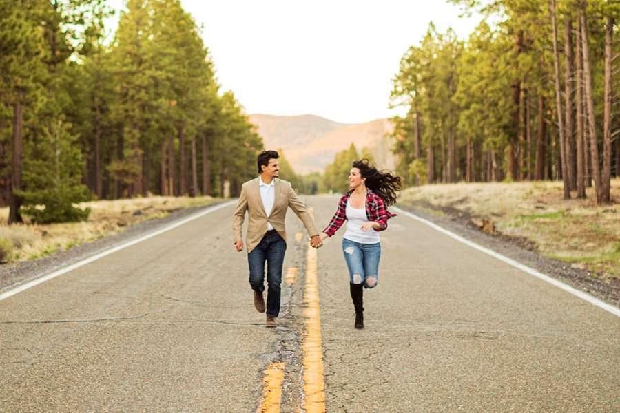 Brianna and John: Adventure Engagement Flagstaff Arizona running