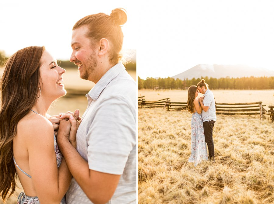 Andrea and Ty: Engagement Photographers Flagstaff sunset light