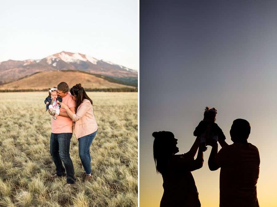 Bowman Family: Family Photographer Flagstaff AZ sunset silhouette