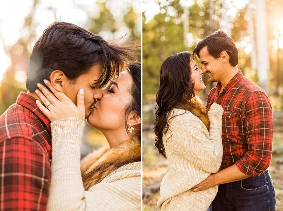 Brianna and John: Adventure Engagement Flagstaff Arizona kissing