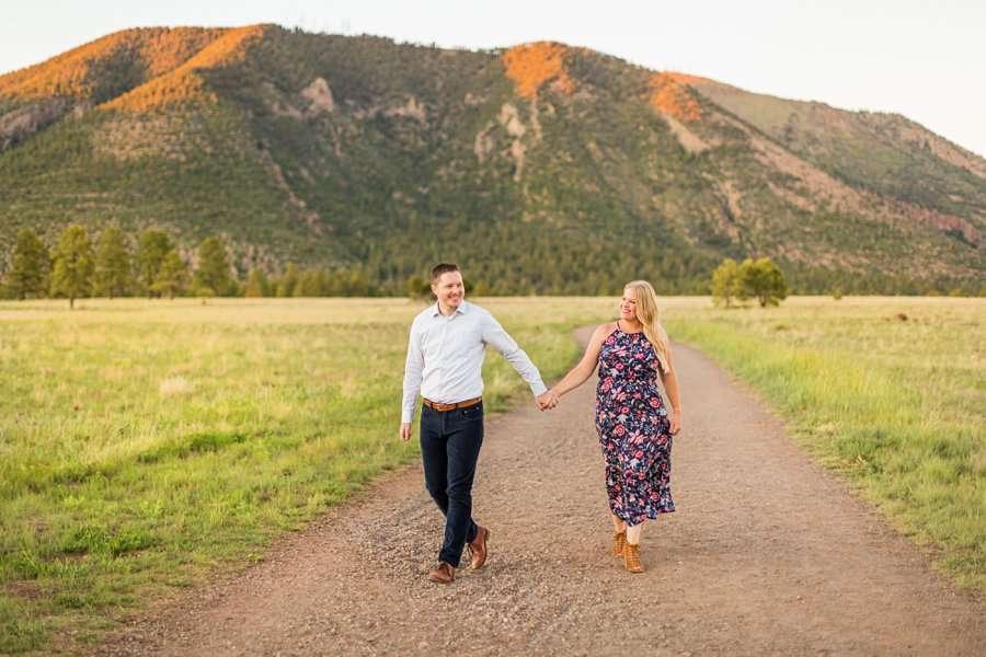Casey and Corey: Buffalo Park Flagstaff Engagement Photography walking