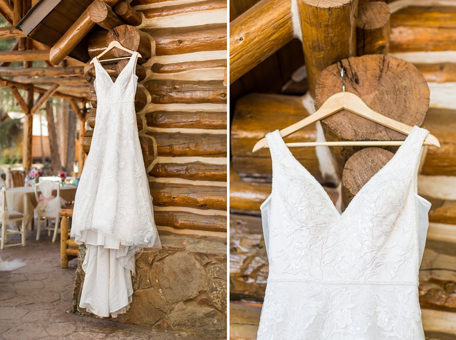 Becca and Josh: Flagstaff Arizona Elopement Photography hanging the dress