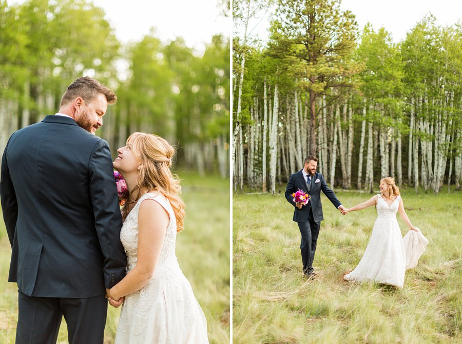 Becca and Josh: Northern AZ Wedding Photographer running in the forest