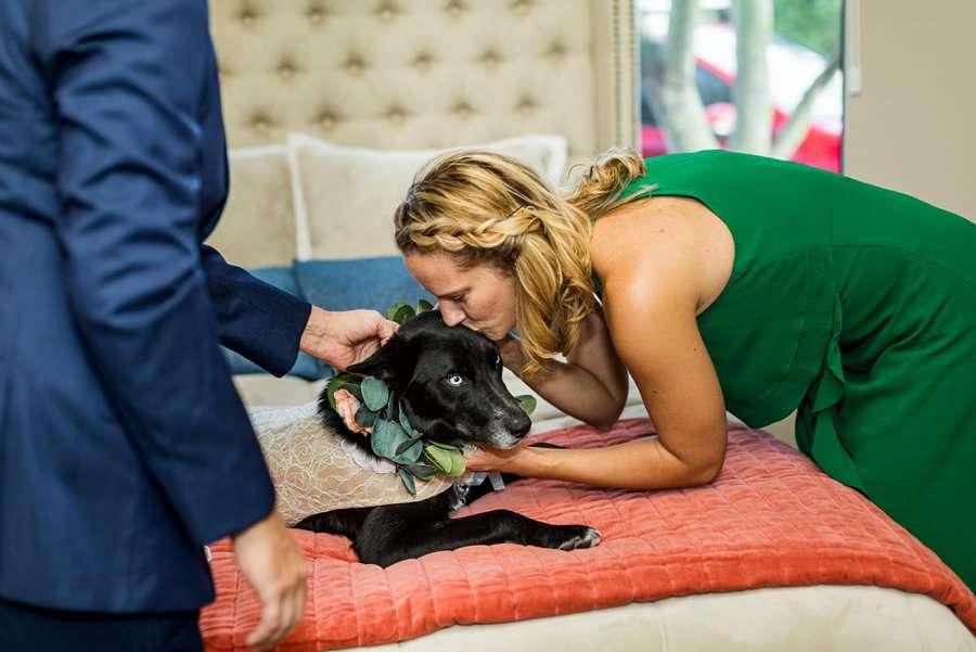 Liz and Jeremy: Phoenix Wedding Photography kissing the dog of honor