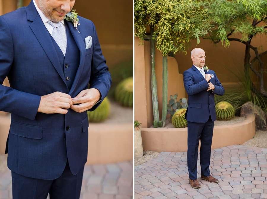 Liz and Jeremy: Phoenix Wedding Photography groom fixing suit