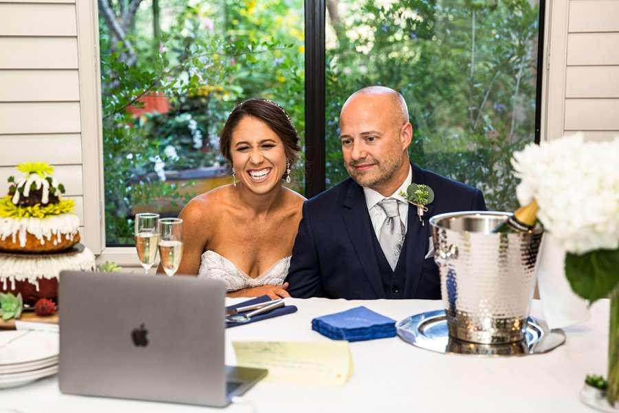Liz and Jeremy: Phoenix Wedding Photography zoom ceremony and toasts