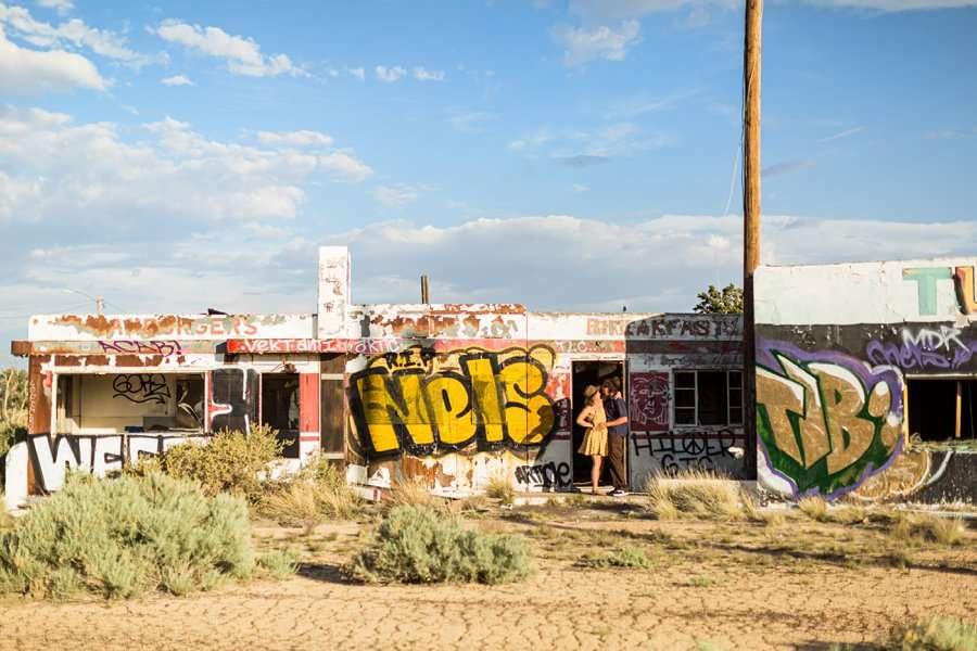 Rachel and Budda: Northern Arizona Ghost Town Engagement Photography adventure portraits