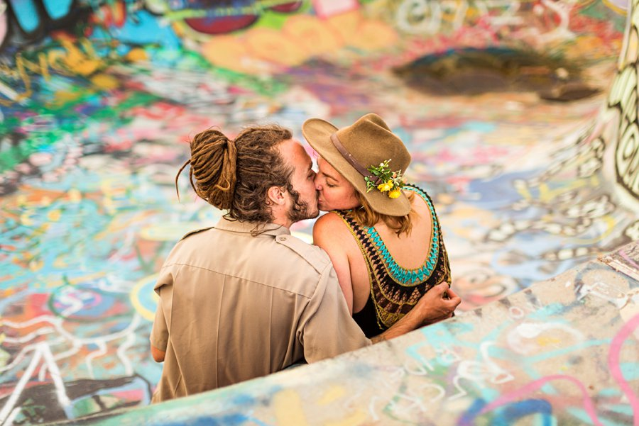 Rachel and Budda: Northern Arizona Ghost Town Engagement Photography artwork colorful