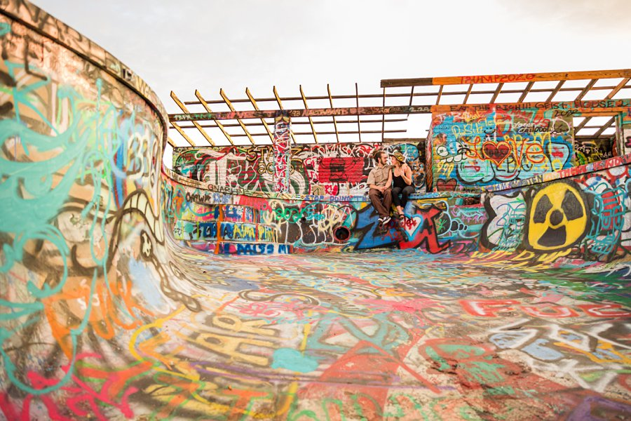 Rachel and Budda: Northern Arizona Ghost Town Engagement Photography couple graffiti