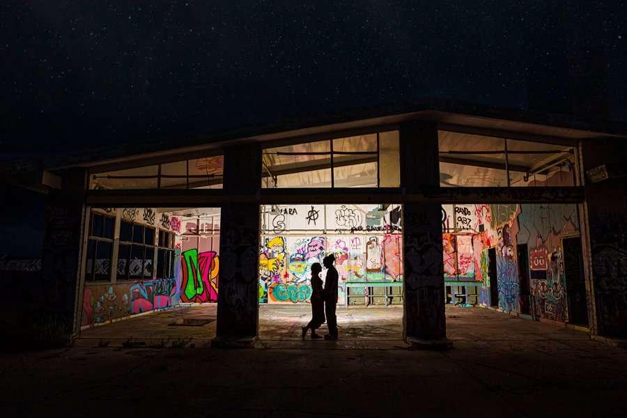 Rachel and Budda: Flagstaff AZ Adventure Photographer abandoned graffiti
