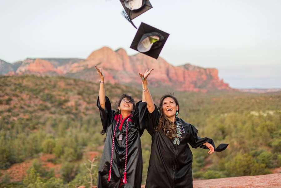 Shalene and Kylie: Sedona AZ Graduation Photography throwing caps