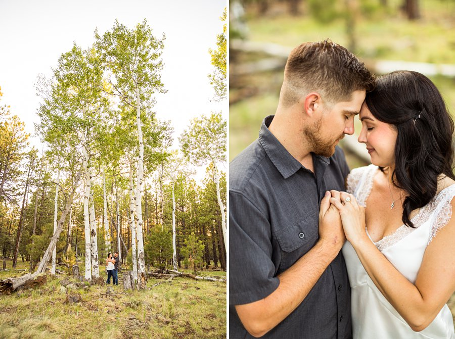 Trish and Mike: Flagstaff Arizona Engagement Session aspens in the summer