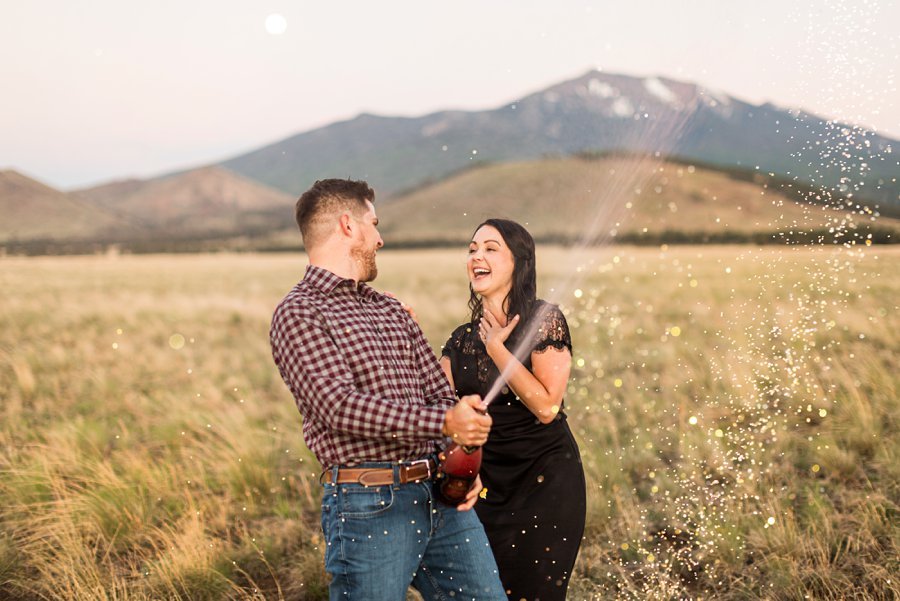 Trish and Mike: Northern Arizona Portrait Photographers popping bottles