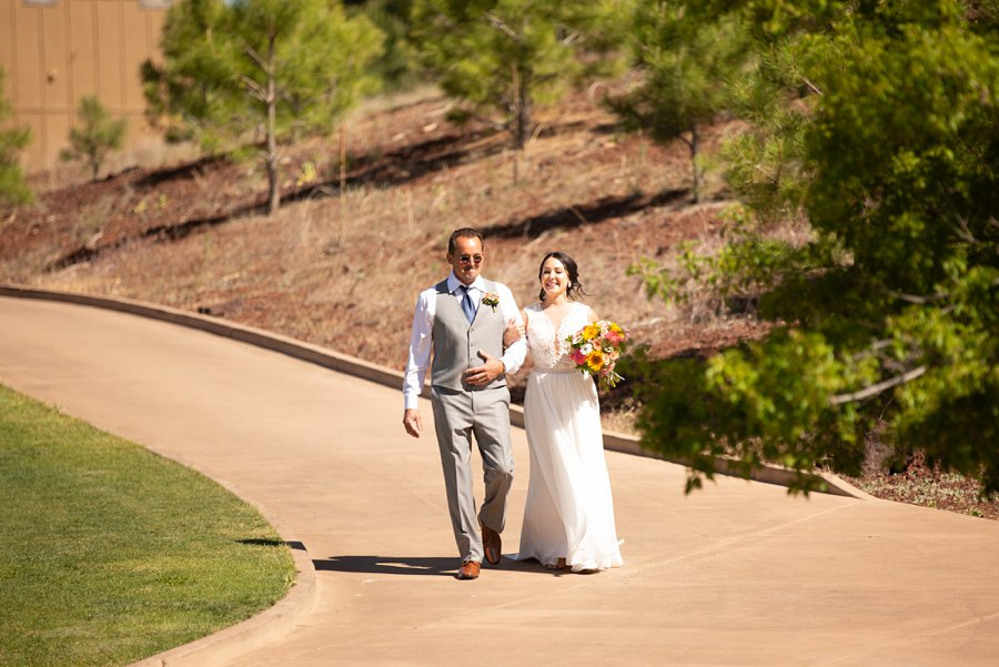 Trish and Mike: Downtown Northern Arizona Elopement father and bride
