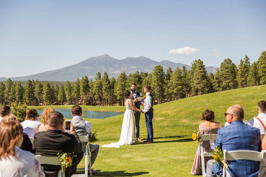 Trish and Mike: Downtown Northern Arizona Elopement mountain backdrop