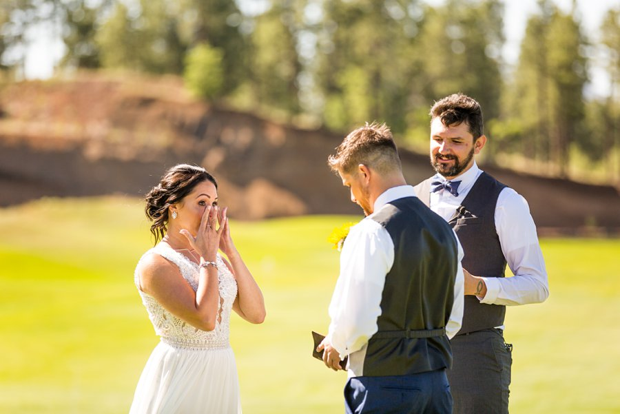 Trish and Mike: Downtown Northern Arizona Elopement bride crying
