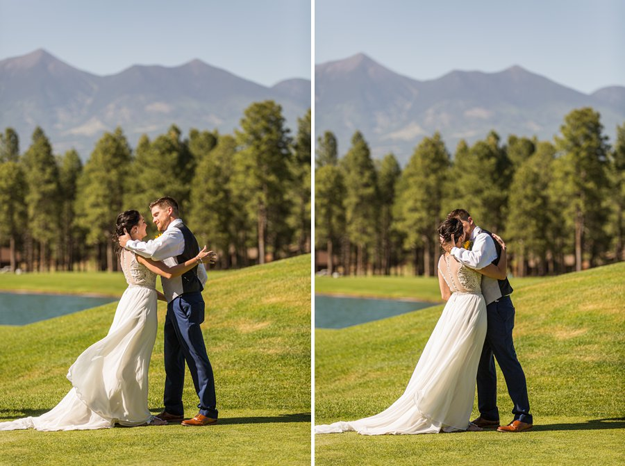 Trish and Mike: Downtown Northern Arizona Elopement the first kiss