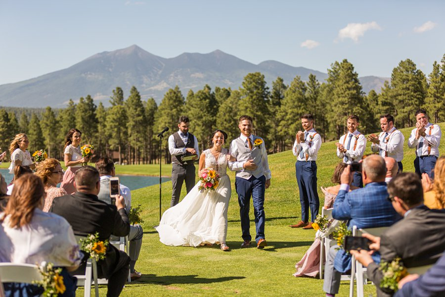 Trish and Mike: Downtown Northern Arizona Elopement announcing mr and mrs
