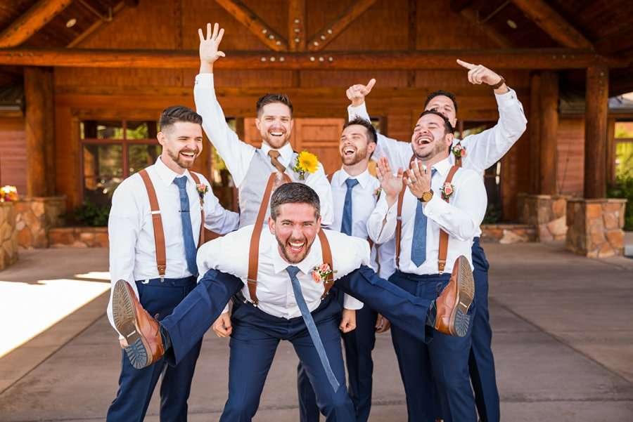 Trish and Mike: Downtown Northern Arizona Elopement groomsmen fun poses