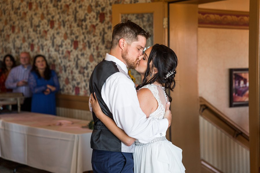Trish and Mike: Downtown Northern Arizona Elopement first dance and kissing