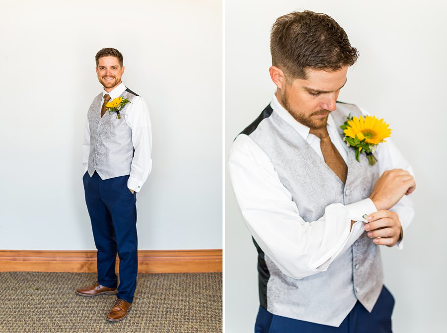 Trish and Mike: Flagstaff Ranch Weatherford Wedding groom preparing for big day