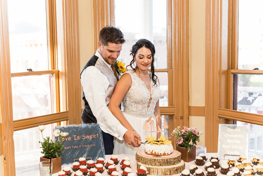 Trish and Mike: Downtown Northern Arizona Elopement cutting the cake