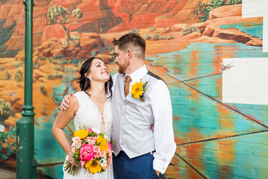 Trish and Mike: Downtown Northern Arizona Elopement creative and colorful