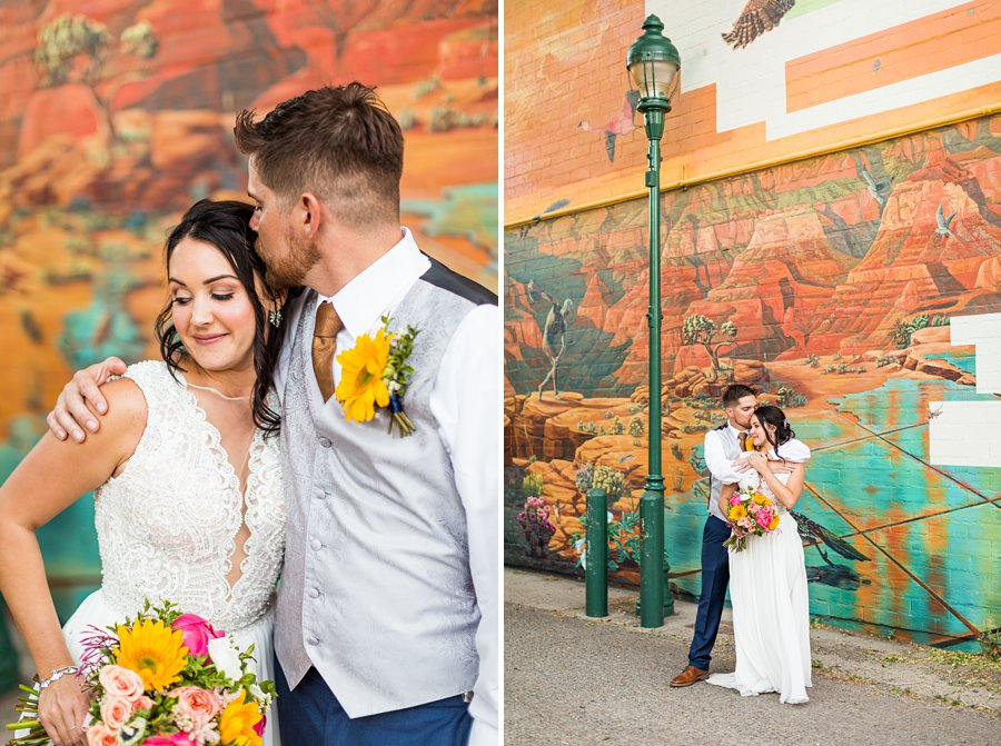 Trish and Mike: Downtown Northern Arizona Elopement historic route 66