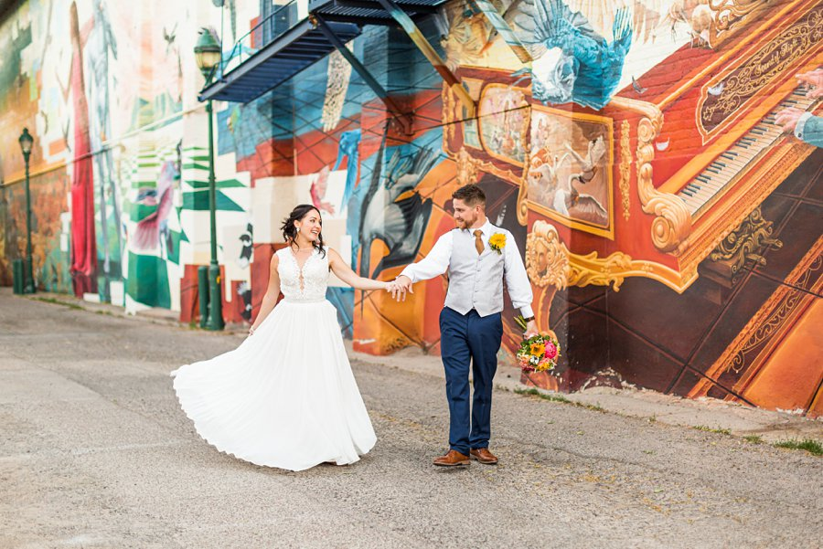 Trish and Mike: Flagstaff Ranch Weatherford Wedding downtown couple