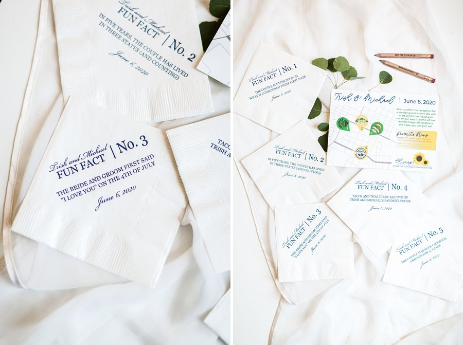 Trish and Mike: Flagstaff Ranch Weatherford Wedding fun fact napkins