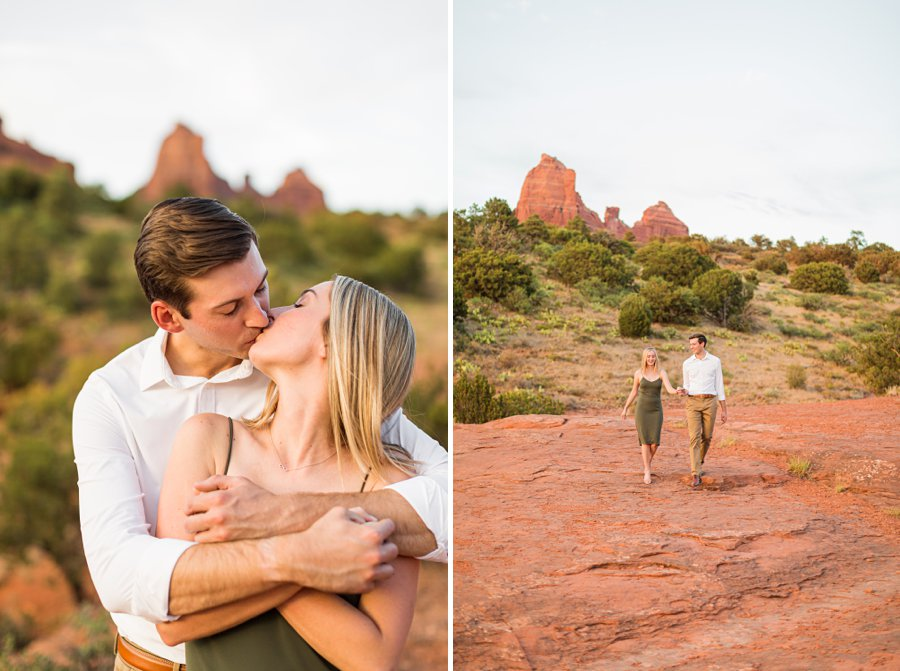 Brooke and Will: Tlaquepaque Sedona Engagement Photographer snuggles and kisses