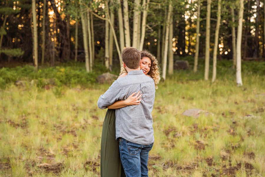 Ryan and Cierra: Flagstaff Arizona Proposal Photographer hugs